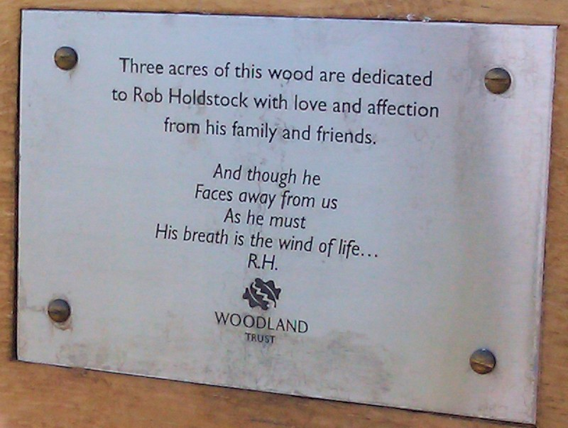 The plaque on the bench